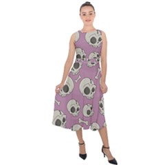 Halloween Skull Pattern Midi Tie Back Chiffon Dress by Valentinaart