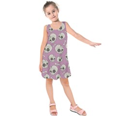 Halloween Skull Pattern Kids  Sleeveless Dress