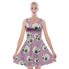 Halloween Skull Pattern Velvet Skater Dress