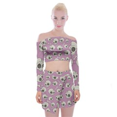 Halloween Skull Pattern Off Shoulder Top With Mini Skirt Set