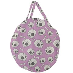 Halloween Skull Pattern Giant Round Zipper Tote