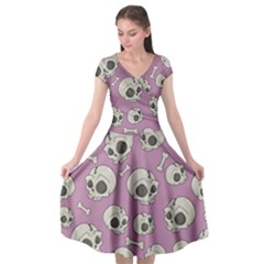Halloween Skull Pattern Cap Sleeve Wrap Front Dress