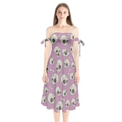 Halloween Skull Pattern Shoulder Tie Bardot Midi Dress