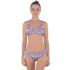 Halloween Skull Pattern Criss Cross Bikini Set