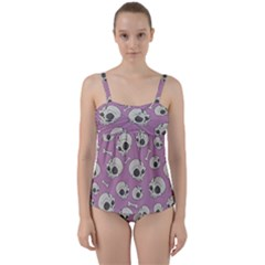 Halloween Skull Pattern Twist Front Tankini Set