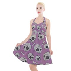 Halloween Skull Pattern Halter Party Swing Dress