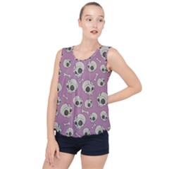 Halloween Skull Pattern Bubble Hem Chiffon Tank Top