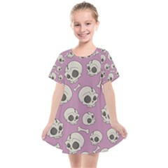 Halloween Skull Pattern Kids  Smock Dress