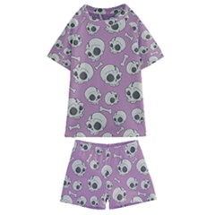 Halloween Skull Pattern Kids  Swim Tee And Shorts Set