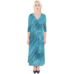Banner Header Quarter Sleeve Wrap Maxi Dress