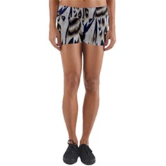 Tiger Background Fabric Animal Motifs Yoga Shorts