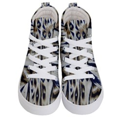 Tiger Background Fabric Animal Motifs Kid s Hi Top Skate Sneakers