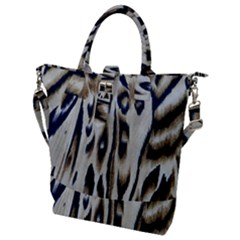 Tiger Background Fabric Animal Motifs Buckle Top Tote Bag
