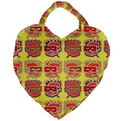 Funny Faces Giant Heart Shaped Tote by Jojostore