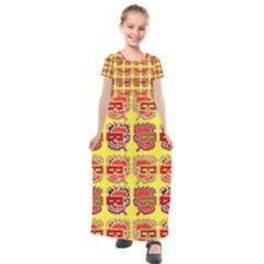 Funny Faces Kids  Short Sleeve Maxi Dress by Jojostore
