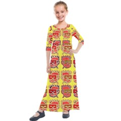 Funny Faces Kids  Quarter Sleeve Maxi Dress by Jojostore