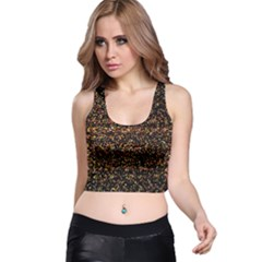 Colorful And Glowing Pixelated Pattern Racer Back Crop Top