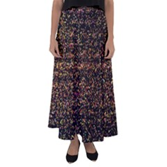 Colorful And Glowing Pixelated Pattern Flared Maxi Skirt by Jojostore