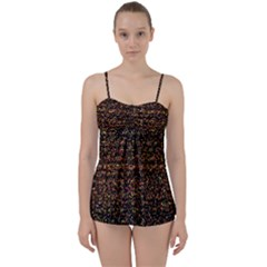 Colorful And Glowing Pixelated Pattern Babydoll Tankini Set