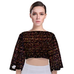 Colorful And Glowing Pixelated Pattern Tie Back Butterfly Sleeve Chiffon Top