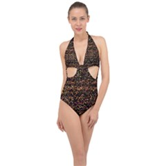 Colorful And Glowing Pixelated Pattern Halter Front Plunge Swimsuit