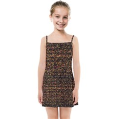 Colorful And Glowing Pixelated Pattern Kids Summer Sun Dress by Jojostore