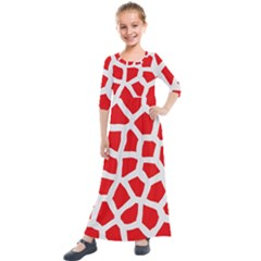 Animal Animalistic Pattern Kids  Quarter Sleeve Maxi Dress by Jojostore