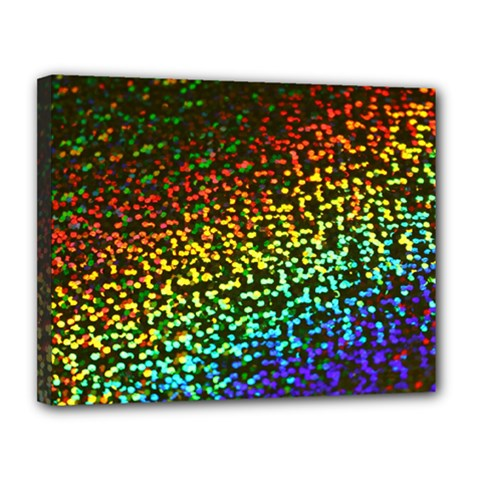 Construction Paper Iridescent Canvas 14  X 11  (stretched) by Jojostore
