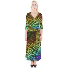 Construction Paper Iridescent Quarter Sleeve Wrap Maxi Dress