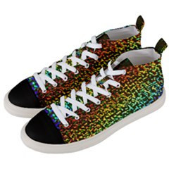 Construction Paper Iridescent Men s Mid Top Canvas Sneakers by Jojostore