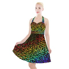 Construction Paper Iridescent Halter Party Swing Dress