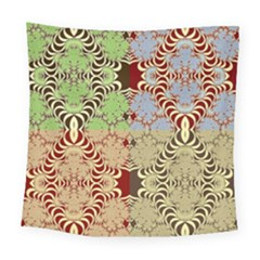 Multicolor Fractal Background Square Tapestry (large) by Jojostore