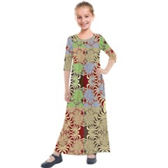 Multicolor Fractal Background Kids  Quarter Sleeve Maxi Dress by Jojostore