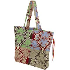Multicolor Fractal Background Drawstring Tote Bag