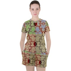 Multicolor Fractal Background Women s Tee And Shorts Set by Jojostore