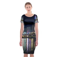 Cleveland Building City By Night Classic Short Sleeve Midi Dress