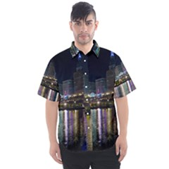 Cleveland Building City By Night Men s Short Sleeve Shirt