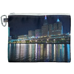 Cleveland Building City By Night Canvas Cosmetic Bag (xxl) by Jojostore