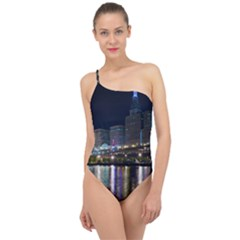 Cleveland Building City By Night Classic One Shoulder Swimsuit