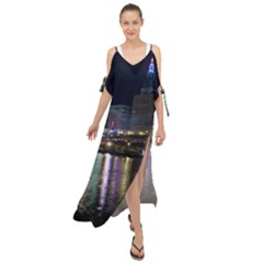 Cleveland Building City By Night Maxi Chiffon Cover Up Dress