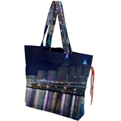 Cleveland Building City By Night Drawstring Tote Bag by Jojostore