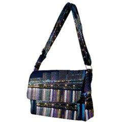Cleveland Building City By Night Full Print Messenger Bag by Jojostore