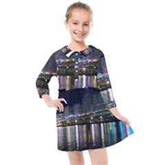 Cleveland Building City By Night Kids  Quarter Sleeve Shirt Dress