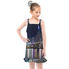 Cleveland Building City By Night Kids  Overall Dress