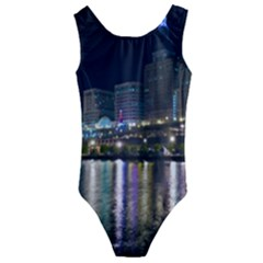 Cleveland Building City By Night Kids  Cut Out Back One Piece Swimsuit
