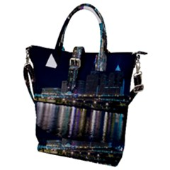Cleveland Building City By Night Buckle Top Tote Bag