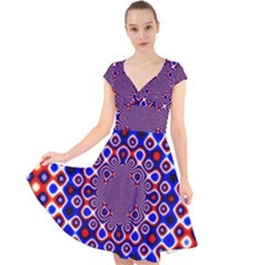 Digital Art Background Red Blue Cap Sleeve Front Wrap Midi Dress