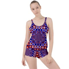 Digital Art Background Red Blue Boyleg Tankini Set
