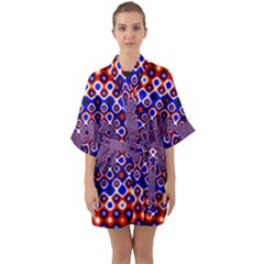 Digital Art Background Red Blue Quarter Sleeve Kimono Robe by Sapixe