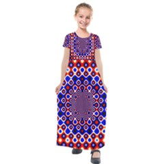 Digital Art Background Red Blue Kids  Short Sleeve Maxi Dress by Sapixe